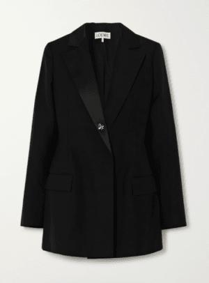Loewe Satin-trimmed wool blazer Netaporter
