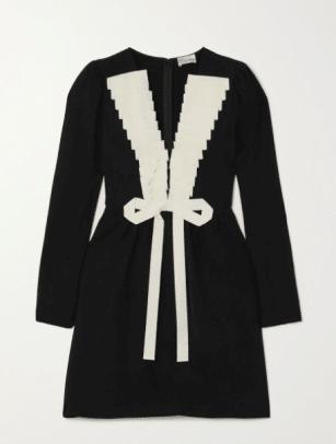 REDVALENTINO Grosgrain-trimmed crepe mini dress NAP