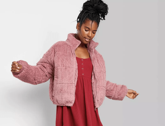 Wild Fable Women's Feathered Cord Puffer Jacket Target
