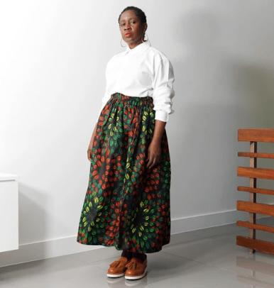Kemi Telford Lanre Orange Leaves Limited Edition Gathered Skirt