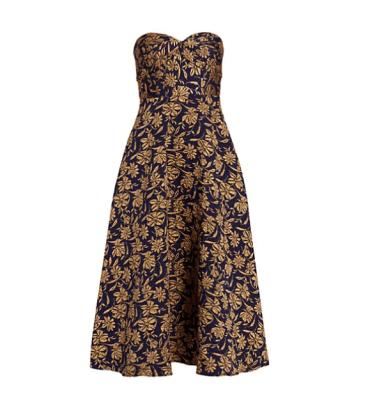 Monique Lhuillier Strapless Floral Jacquard Fit & Flare Midi Dress Saks Fifth Avenue