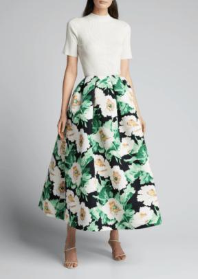 OSCAR DE LA RENTA Floral Print Full Party Skirt BG