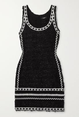 Balmain Embroidered metallic tweed mini dress