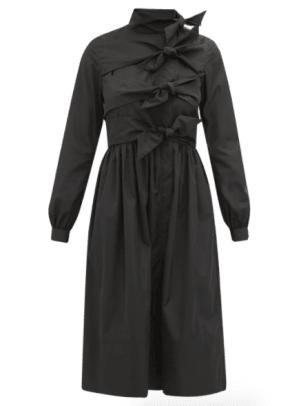 Molly Goddard Hester Bow-Embellished Taffeta Dress