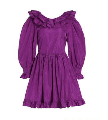 MSGM Ruffle Taffeta Mini Dress Saks Fifth Avenue