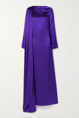 Christopher John Rogers Open-back Draped Silk-charmeuse Gown Netaporter