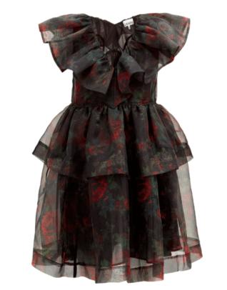 Ganni Tiered Floral-print Organza Dress