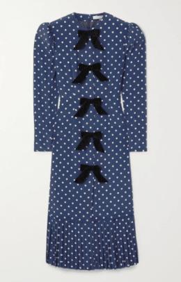 Alessandra Rich Bow-embellished polka-dot silk crepe de chine midi dress Netaporter