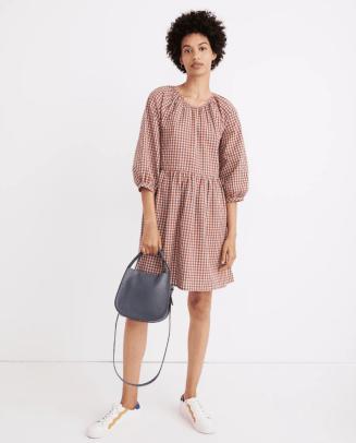 Madewell Gingham Seersucker Raglan Puff-Sleeve Mini Dress
