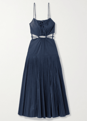 Jonathan Simkhai Rem cutout pleated cotton-blend poplin maxi dress NAP