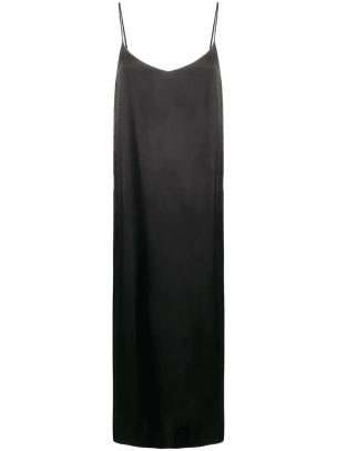 ganni black slip dress