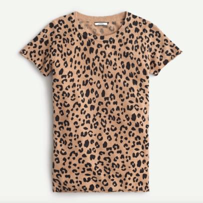 jcrew short sleeve cashmere tshirt leopard