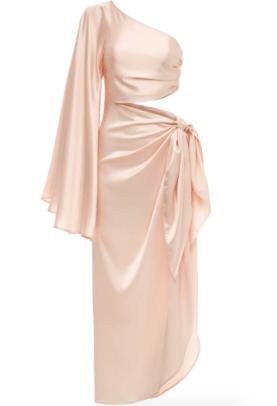 Fe Noel Champagne Half Sleeve Tie Dress