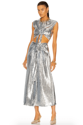 Paco Rabanne Draped Sequin Top and Skirt