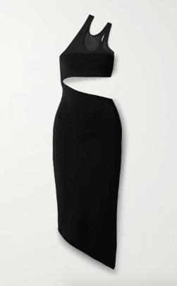 Mugler One-shoulder cutout stretch-knit midi dress $1,390