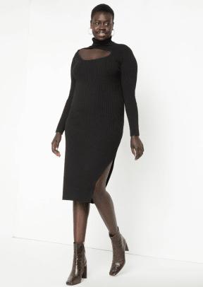 Eloquii Cutout Detail Turtleneck Sweater Dress