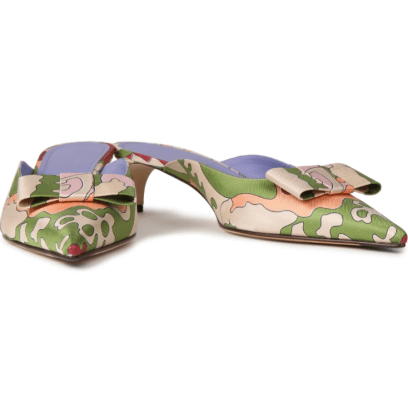 VB Juliet bow-embellished printed silk-twill mules