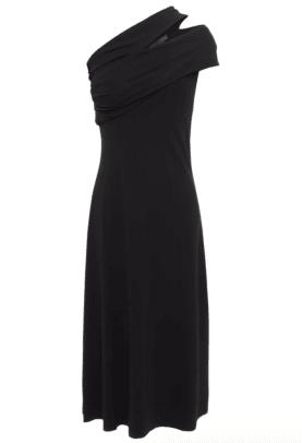 Helmut Lang One-shoulder cutout draped stretch-crepe dress