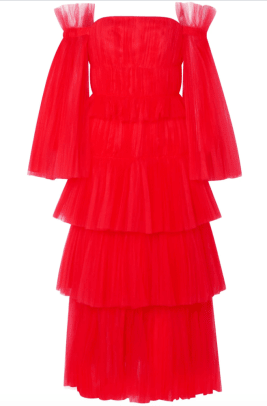 CH Off-the-shoulder tiered tulle gown Outnet