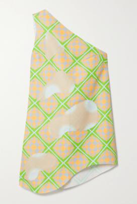 Maisie Wilen Bam Bam one-shoulder appliquéd printed shell mini dress Netaporter