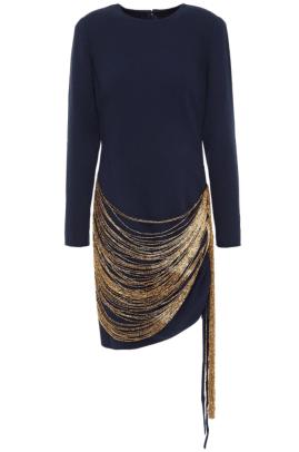 ODLR Fringed bead-embellished wool-blend crepe mini dress Outnet