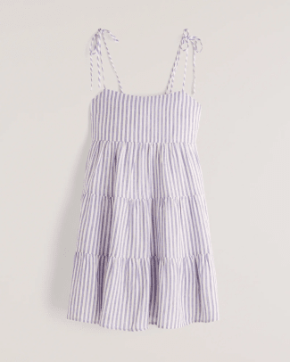 Abercrombie & FitchTie-Strap Tiered Mini Dress in White Stripe