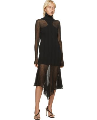 Mugler Black Sheer Peaking Long Sleeve Dress Ssense