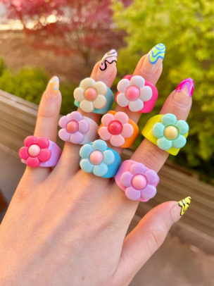 chunky floral rings
