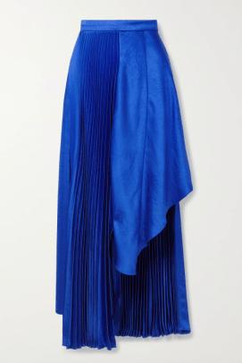 CJR Asymmetric pleated satin skirt