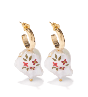 Simone Rocha Floral-painted faux-pearl and gold-plated earrings Matches