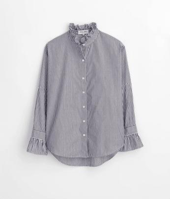 Alex Mill Easy Ruffle Shirt in Stripe