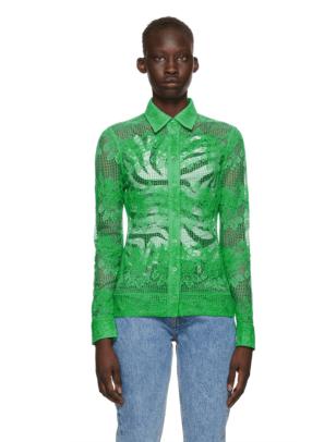 Ganni Green Lace Shirt Ssense