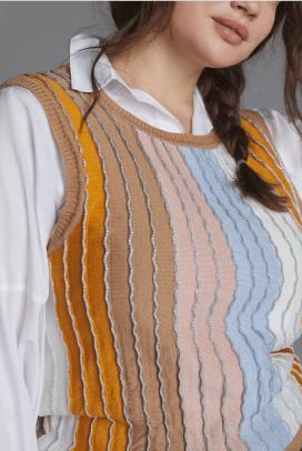Eva Franco Shimmer-Striped Sweater Tee Anthro