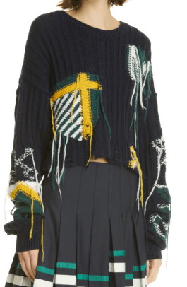Monse Inside Out Varsity Crop Cable Knit Sweater Nordstrom