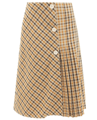 Wales Bonner Kalimba checked pleated wool-blend skirt matches