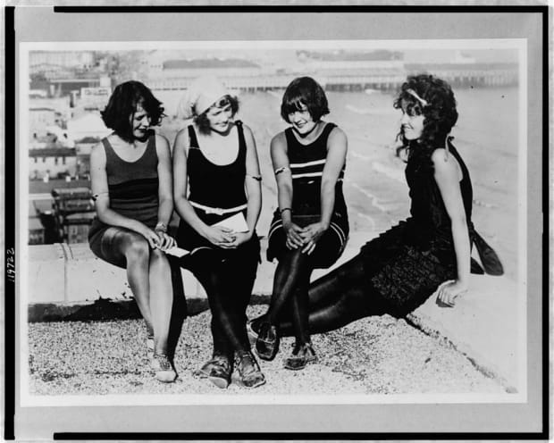 64c52eae6b Women in wool knitted swimsuits in Atlantic City in 1922. Photo  Library of  Congress
