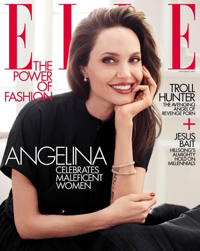 Angelina Jolie na capa de Elle em setembro de 2019.