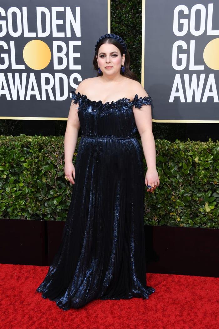 Feldstein at the Golden Globes in 2020, wears Oscar de la Renta.