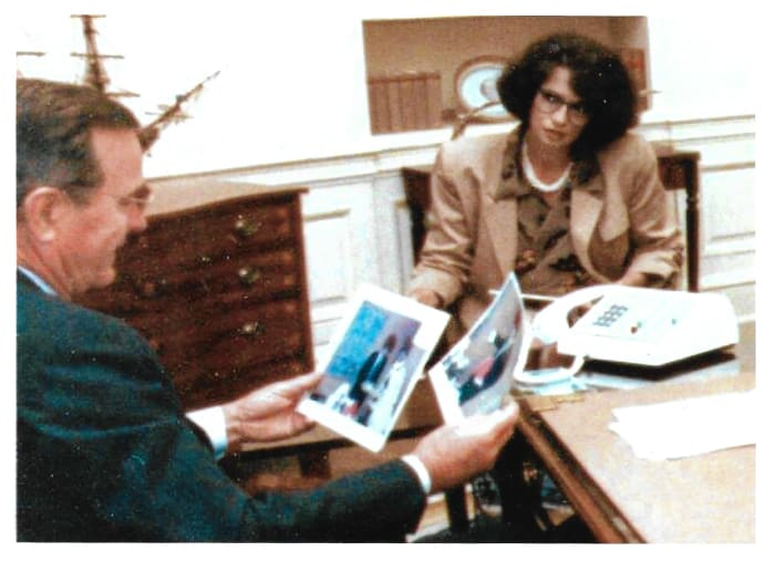 Jonna Mendez, in disguise, with then-President George H.W. Bush.