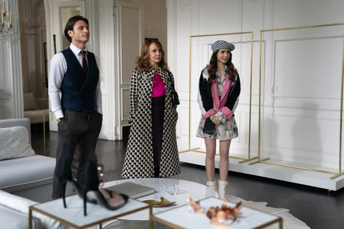 Sylvie (Philippine Leroy-Beaulieu, middle), in a vintage pink Elie Saab blouse, and Emily, in a Jean Paul Gaultier dress and Ganni jacket, eventually find middle ground in houndstooth prints.
