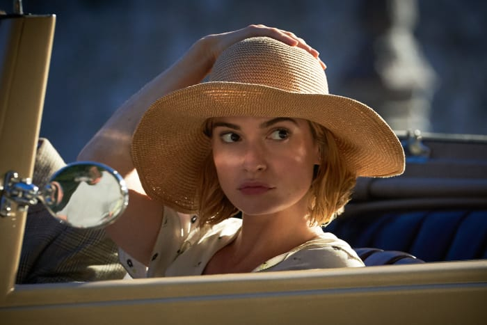 The future Mrs. de Winter (Lily James) in Monte Carlo.