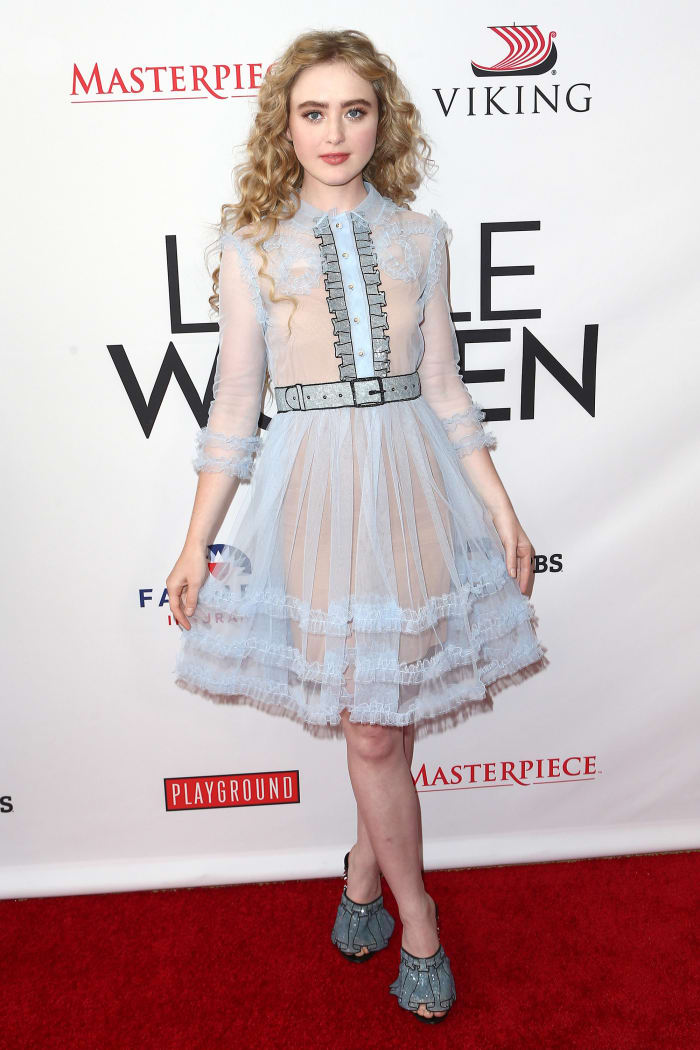 Newton in a Spring 2016 Gucci dress at the 'Little Women' FYC reception in 2018.