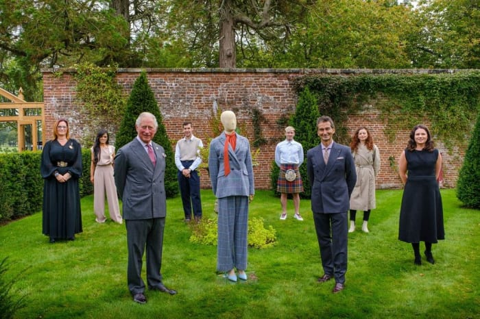 HRH The Prince of Wales & Yoox Net-a-Porter Group Chairman and CEO Federico Marchetti with six of the Modern Artisans at the final collection review at Dumfries House.