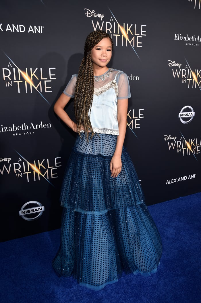 Storm Reid at the L.A. premiere of 'A Wrinkle in Time' in 2018 wearing Coach.