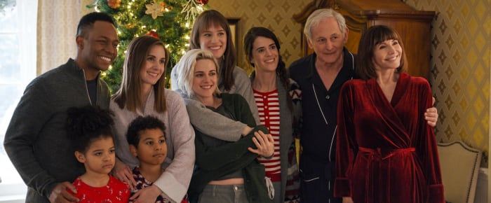 Happy holidays! Harper's family in their PJs and robes, while houseguest Abby' wears vintage Dickies pants and a sweatshirt.