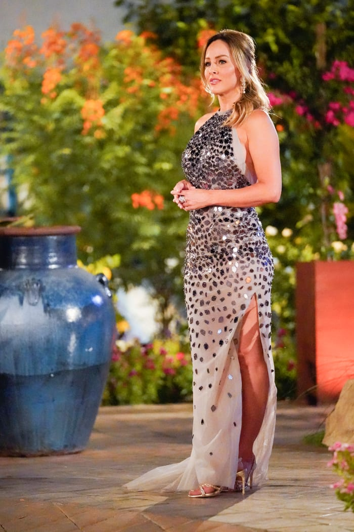 "Clare Crawley on the first night as ""The Bachelorette,"" wearing Randi Rahm."