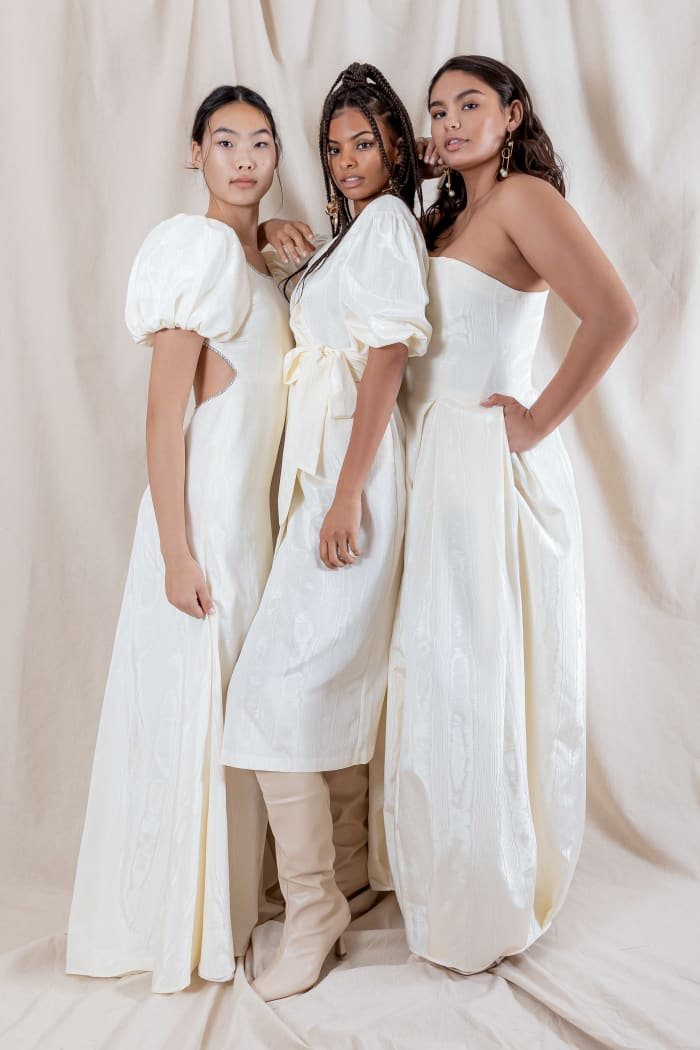The Gwen, Karmen and Rosa moire wedding dresses from the debut Katharine Polk bridal collection.