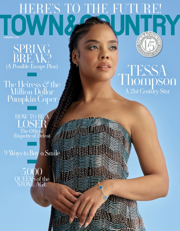 Tessa Thompson na capa de fevereiro da Town & Country.