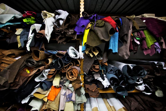 Stocks of leather are stored at a factory in Corridonia, Italy.