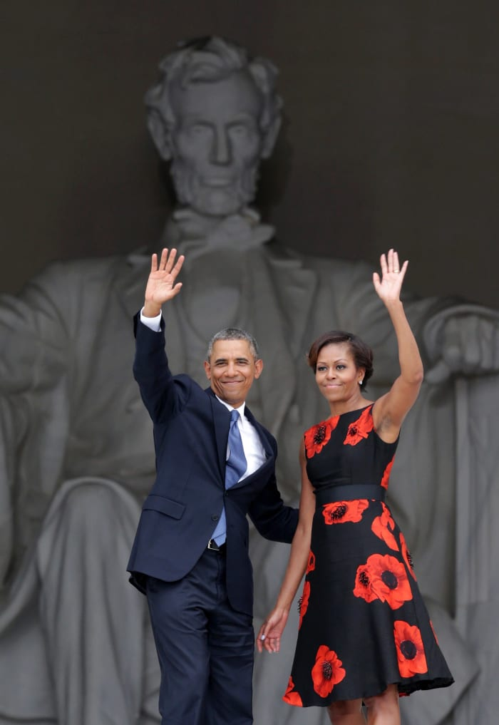 Former president Barack Obama and Michelle Obama, wearing Tracy Reese, at a 2013 ceremony at the Lincoln Memorial commemorating the 50th anniversary of the March on Washington.